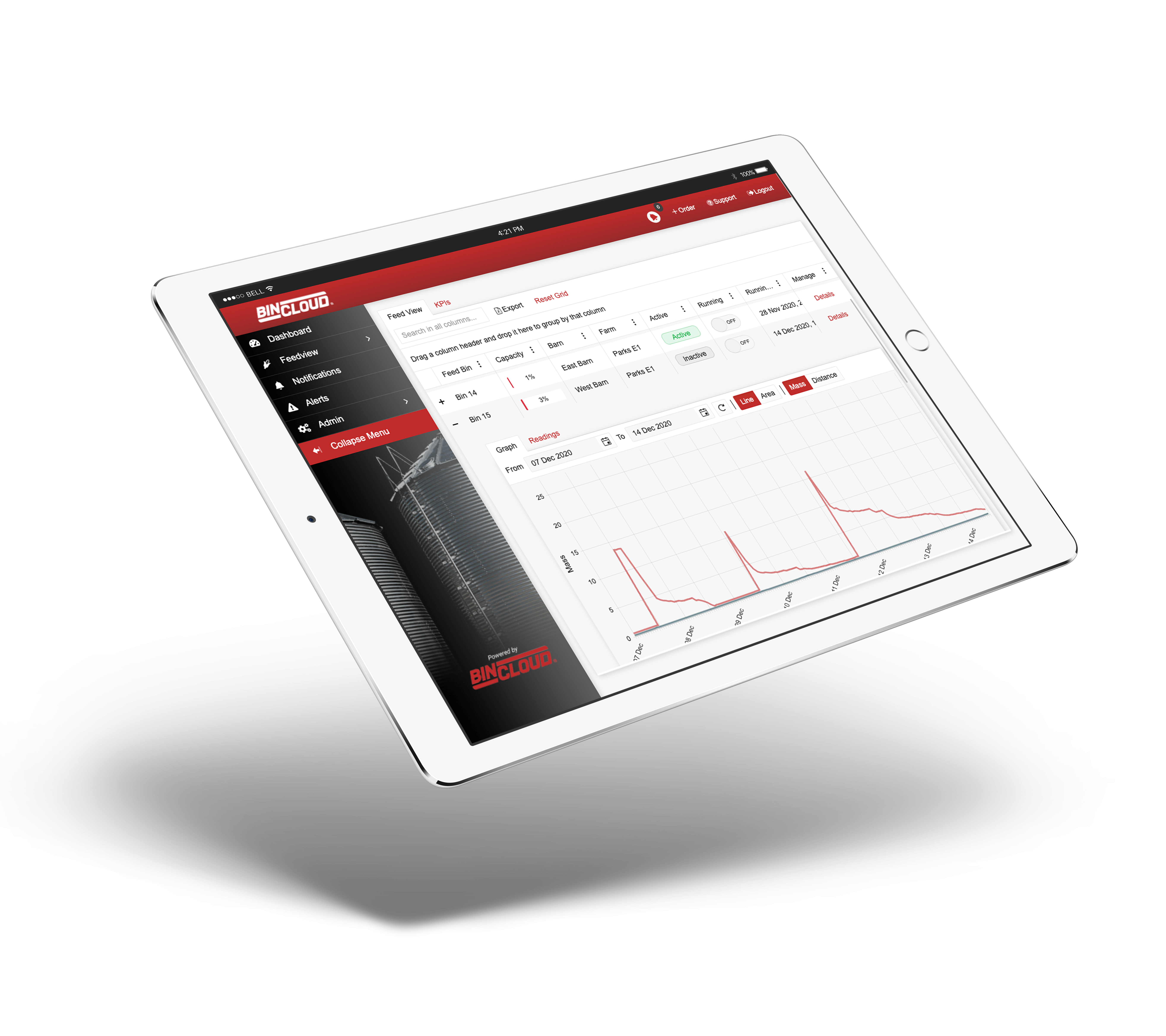 BinCloud inventory management software on iPad