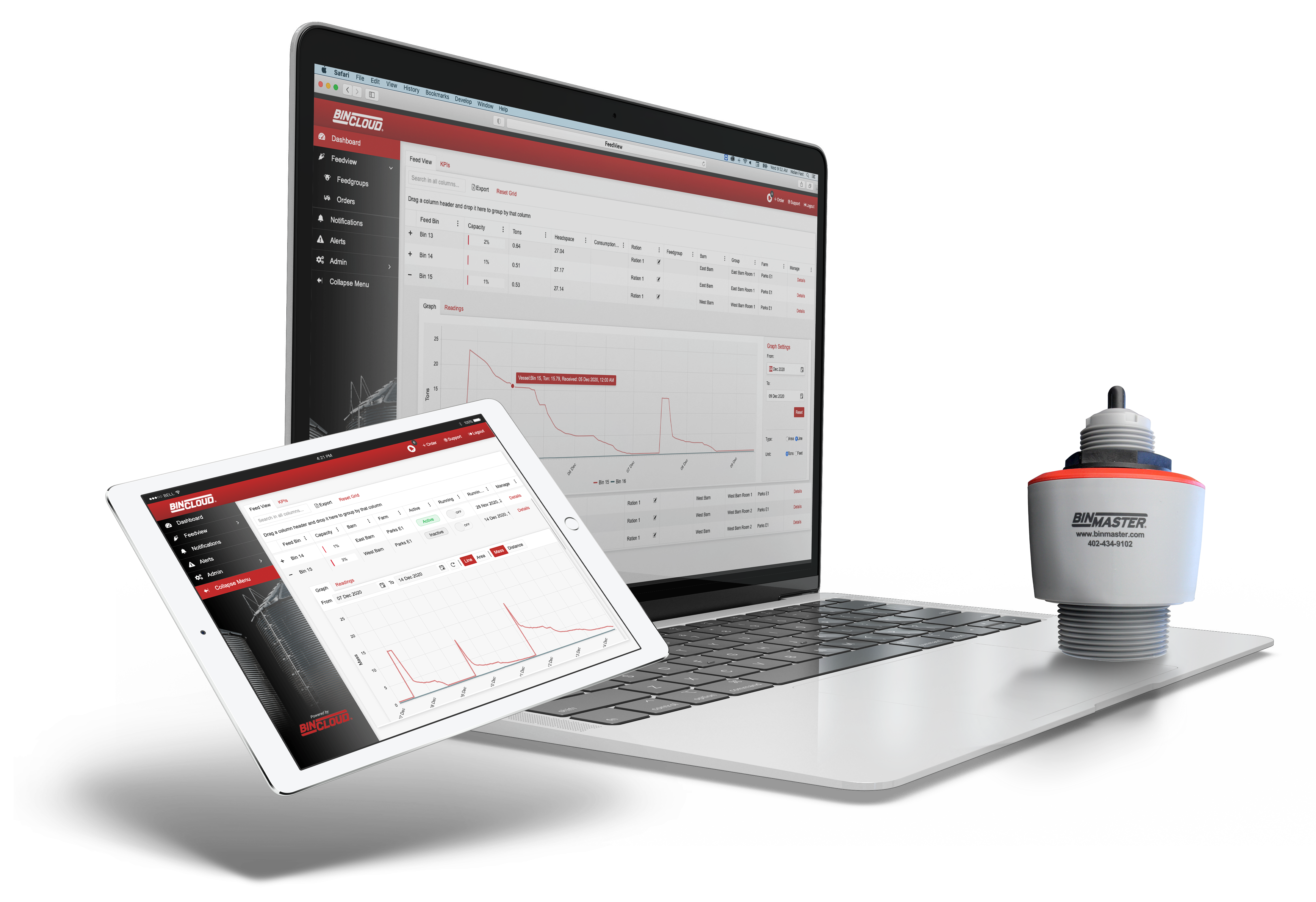 BinCloud inventory management software on laptop and iPad with sensor