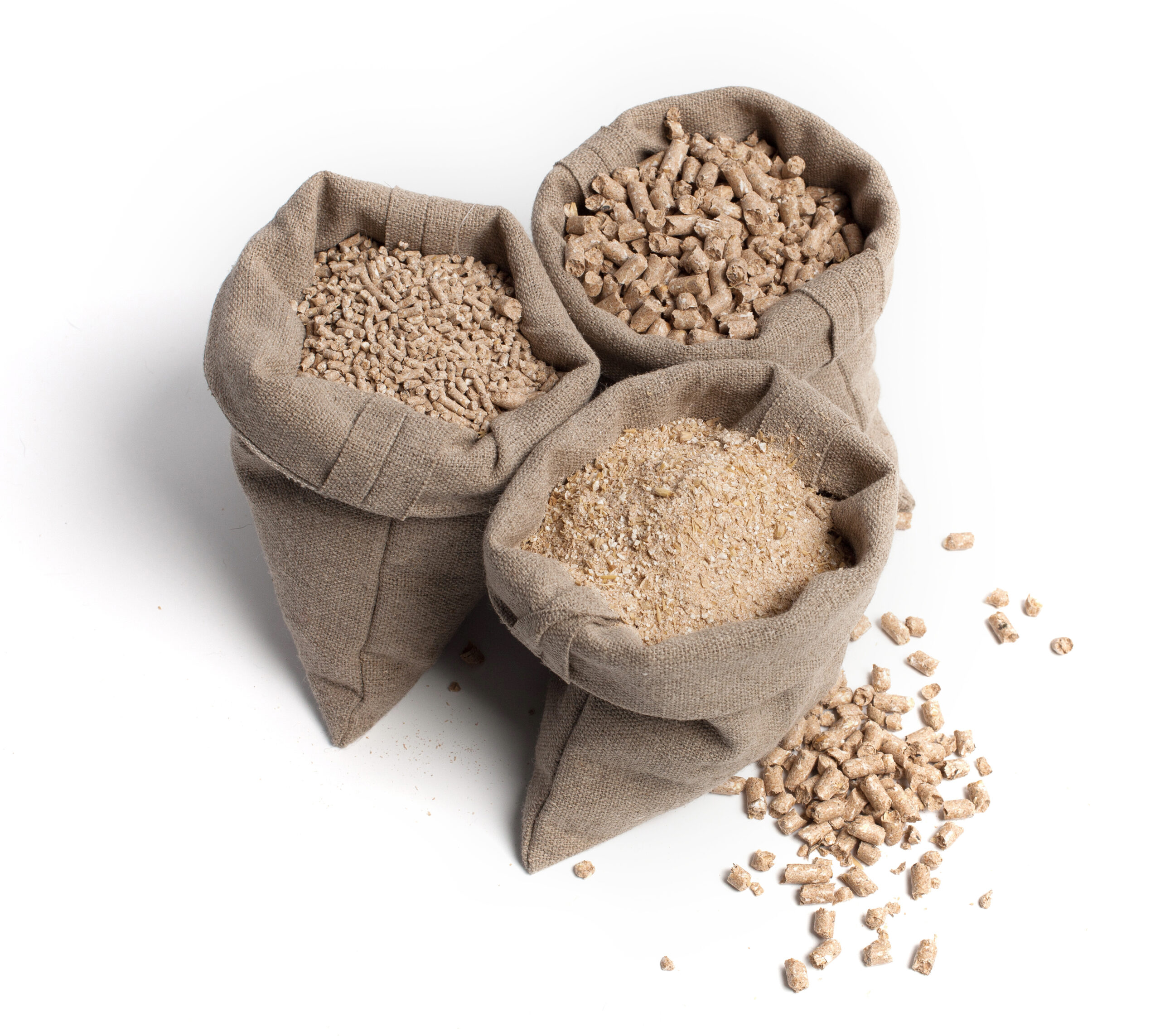 FeedView - Inventory Management - Feed for livestock. Different kinds of granules. Three pouches. Agricultural preparations, dry food, cereals, additives