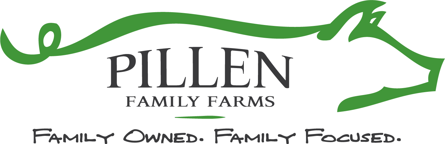Pillen Family Farms Logo - pig outline with text in the middle and below